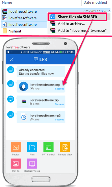 how to send files to android from PC by right click menu
