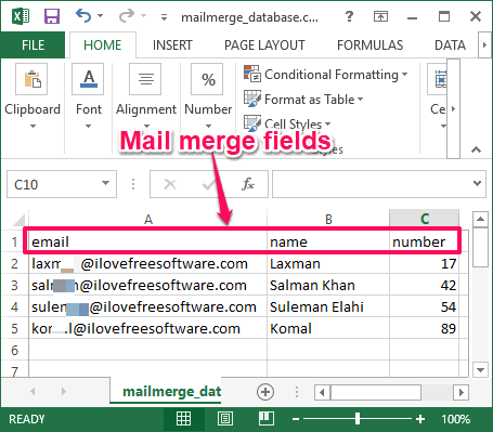 mail merge fields