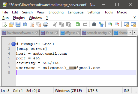 mail merger mail server settings