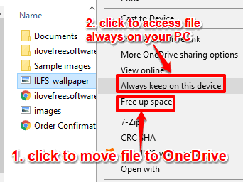 move file to onedrive and keep file always on this pc options