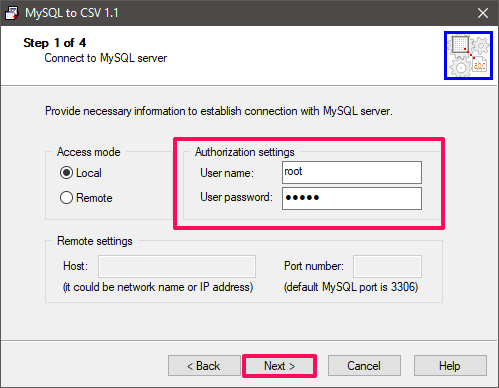 mysql to csv connect to database