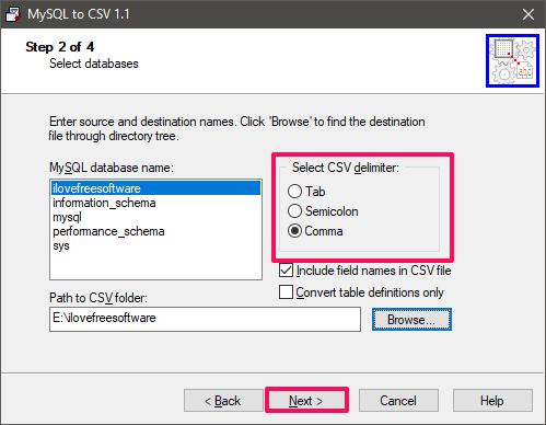 mysql to csv select database