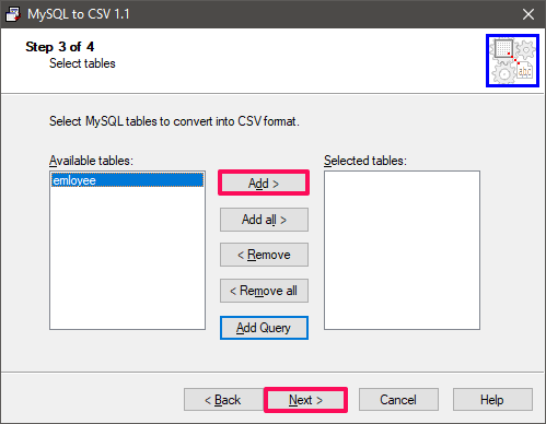 mysql to csv select tables