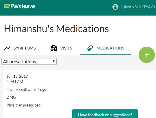 painleave- online medication tracker