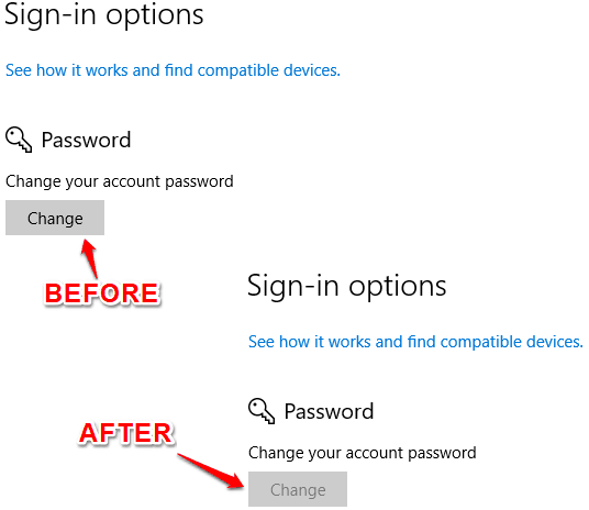 password change option disabled in windows 10