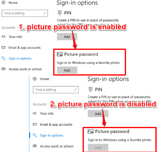 picture password disabled in windows 10