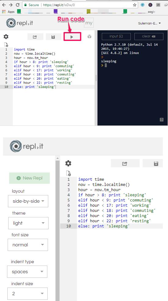 replit online python coding