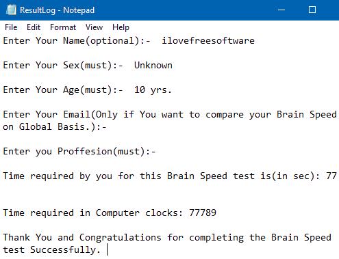 result log of brain speed test