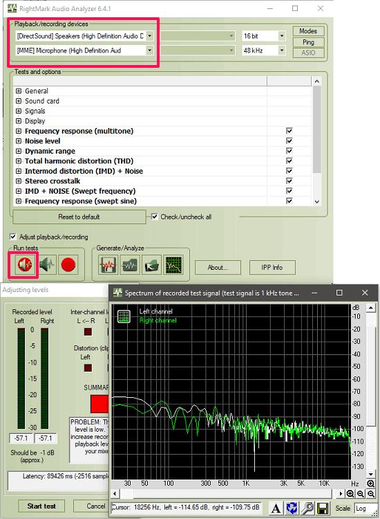 rightmark audio analyzer in action