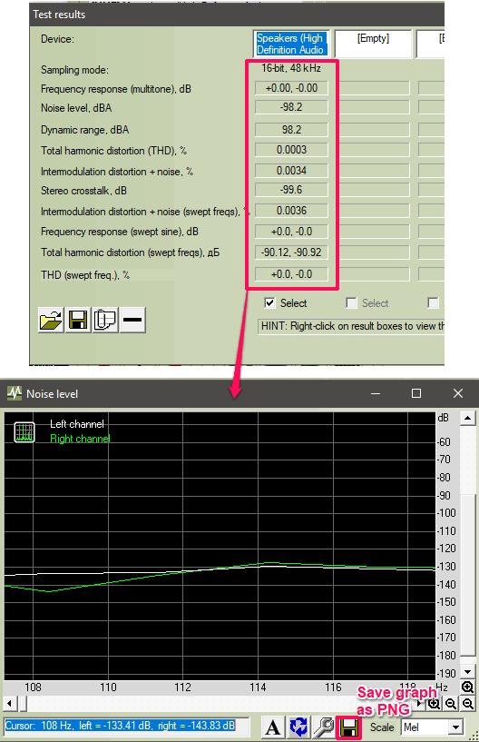 rightmark audio analyzer test result