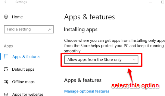 select allow apps from the Store only option
