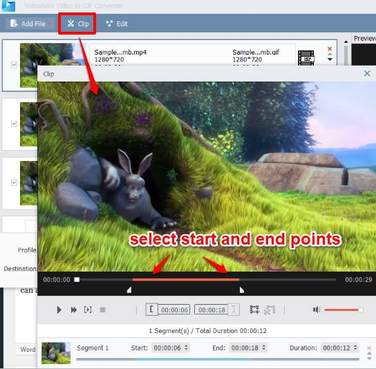 select start and end points of a video
