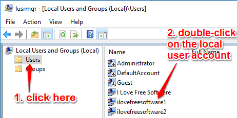 select users folder and then double-click a local user account