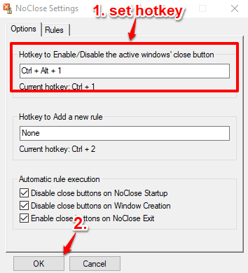 set hotkey to hide close button for applications