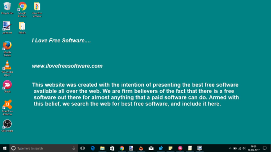 set text as desktop background in windows 10