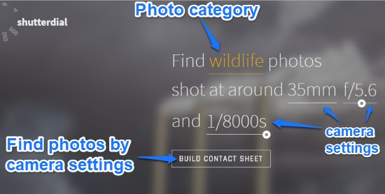 shutterdial- homepage- find images by camera settings