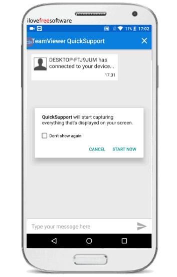 start capturing screen via teamviewer quicksupport