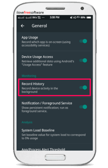 systempanel- enable app usage track