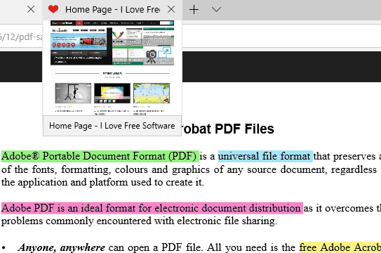 text highlighted in pdf file