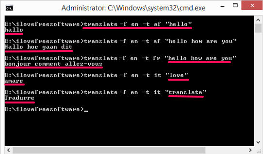 translate-python Words from Command Line