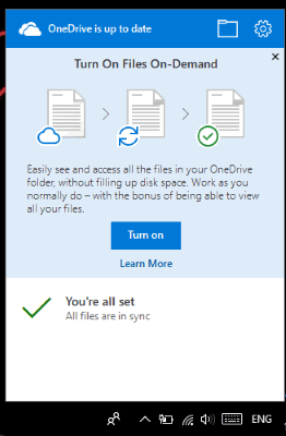 turn on files on demand feature pop-up