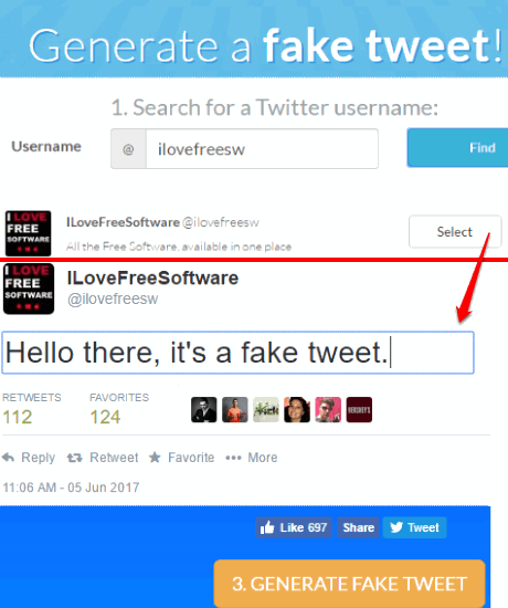 tweetfake- feet tweet generator