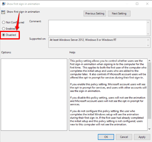 use disabled option