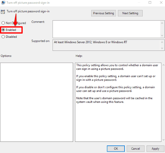 use enabled option and save