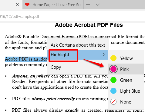 use highlight option and select a color