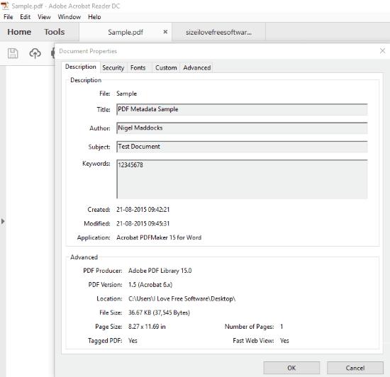 view pdf metadata using adobe acrobat reader DC