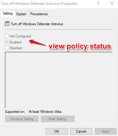 view policy status