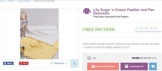 yarnspirations- free knitting pattern website