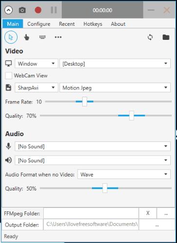Captura interface