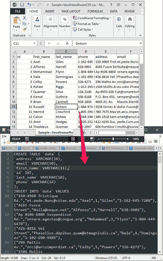 Convert JSON, CSV to SQL