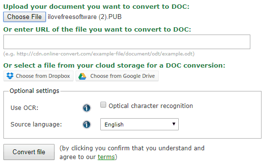 Online-Convert.com pub to doc converter