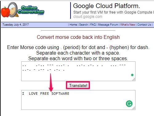 Onlineconversion morse code translator