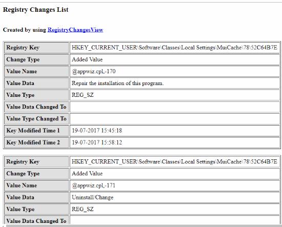 Registry Changes report in html format