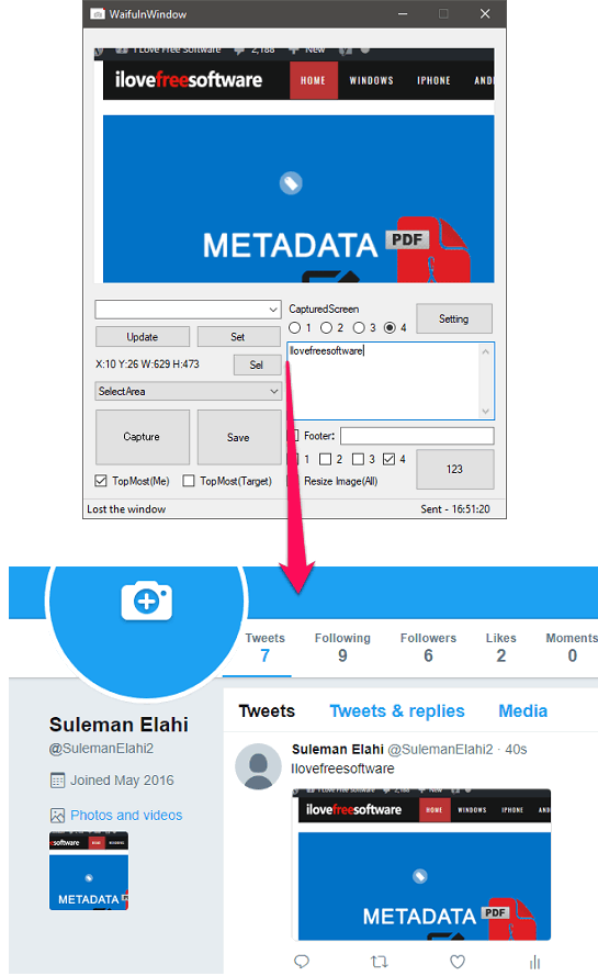 Screenshot Capture Software to Directly Post Screenshot to Twitter
