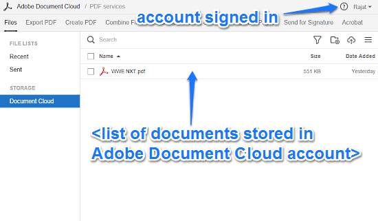 adobe document cloud signed in