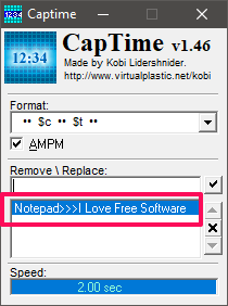 captime time replace text