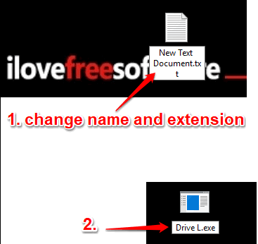 change file extension from txt to exe