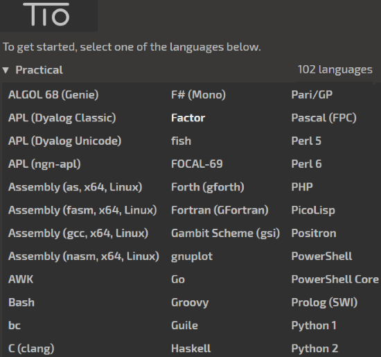 choose a programming language in try it online