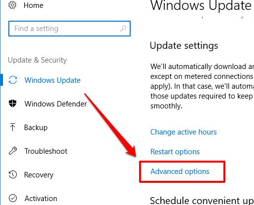 click advanced options
