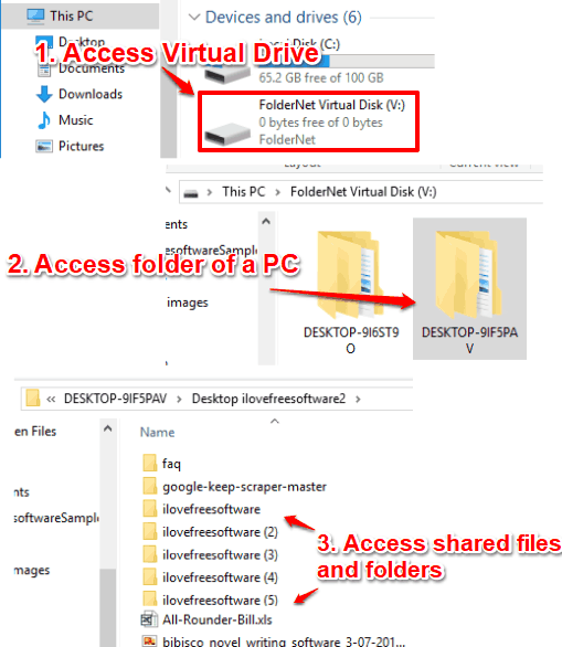 connect multiple pcs to share files on different networks