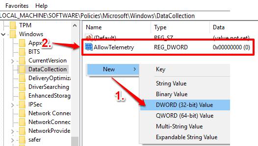 create allowtelemetry dword value