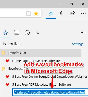 edit saved bookmarks in microsoft edge