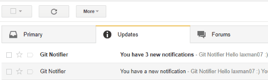 email notifications received