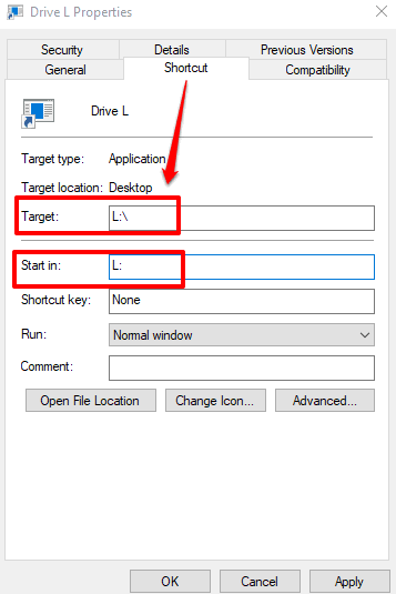 enter usb drive letter in target and start in fields