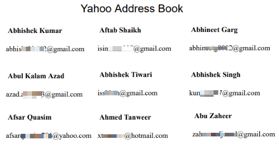 extract email address of Facebook friends