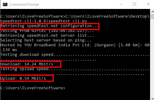 internet upload and download speed results visible in command prompt